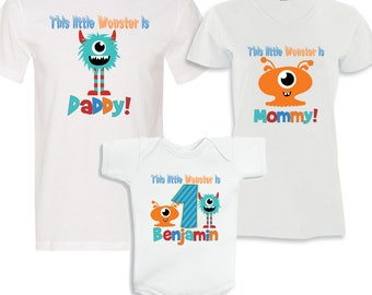 Matching 3 WHITE Shirt Set - This Little Monster is birthday boy, Daddy and Mommy
