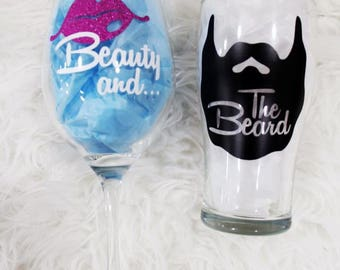 Beauty and The Beard | Beauty and The Beard Glasses | His and Hers Beer & Wine Glasses