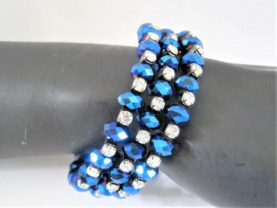 Blue Rhinestone Bracelet, Bead Memory Wire, Coil Wrap,  Vintage Wrap Bracelet
