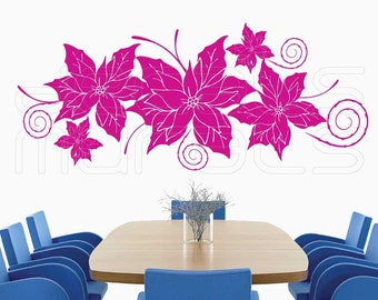 Wall Decals POINSETTIA FLORAL Vinyl art stickers for walls by Decals Murals (22x52)