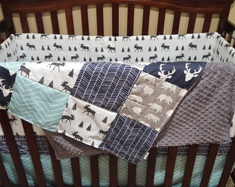 Baby Boy Crib Bedding - Navy Buck, Moose, Gray Bear, Aqua Pinstripe Chevron, Navy Herringbone Crib Baby Bedding Ensemble