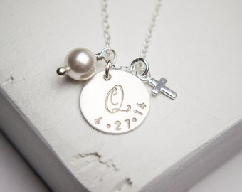 Special Date Initial Necklace | Personalized Sterling Silver Jewelry | Cross Necklace | Christian Faith | Christening Gift | New Mom Gift