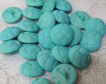 """Turquoise Buttons, 25 Discount buttons, Shank back button, 7/8"""" Buttons, Sewing buttons, Craft buttons, Vintage buttons, Rope buttons"""