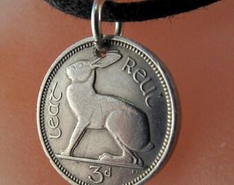 Coin Jewelry - IRISH  CHARM -   Ireland rabbit -  Ireland coin necklace - rabbit necklace - choose year No.00925