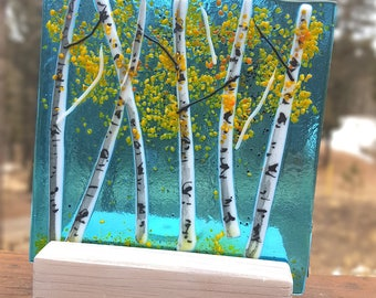 Aspen Fused Glass Votive with Wood Easel