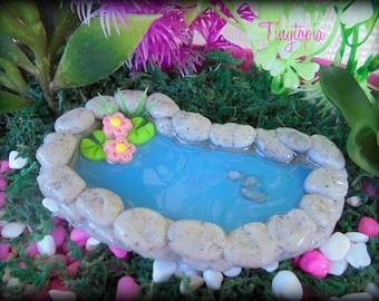 Fairy Garden Terrarium Miniature Granite Pond