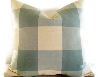 Ballard Designs Pillow Blue Check Pillow Oversized Blue Check Pillow Spa Blue Buffalo Check Pillow Cover 0