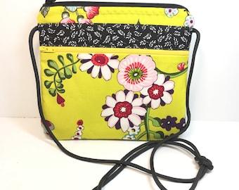 Small Cross Body~Black Floral~MINI CROSSBODY~Small Crossbody~Bags & Purses~Small Shoulder Bag~Go AnyWhere Bag~Small Hipster