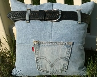 Denim Belt Loop Throw Pillow Cover - Upcycled Jeans Pocket Throw Pillow - Lined Throw Pillow Cover - Repurposed Pocket Pillow