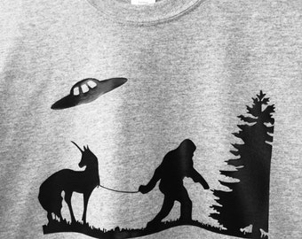 Bigfoot Unicorn UFO T-Shirt Cryptids