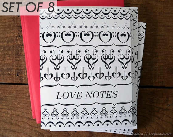 Music valentines love notes music anniversary card music