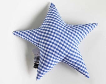 Blue gingham Plaid star cushion