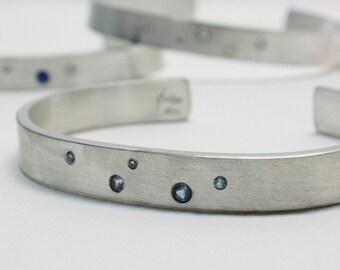 Sterling Silver Bracelet | Stars Gemstone Bracelet | Unique Handmade Cuff Bracelet