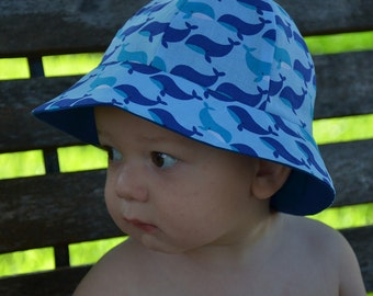 Sun Hat Kid's Whales Hats 2 in 1 Reversible Childrens Hats Baby's Hats Blue Sun Hats Toddlers Hats Hat Bucket Hat Beach Hats Baby Beach Hat