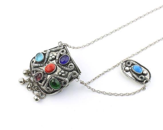 Mumbai Poison Necklace, Secret Compartment, Ethnic Penndant, Tribal, Yoga Jewelry, Festival Jewelry, Boho, Gypsy, Hippie, Spiritual