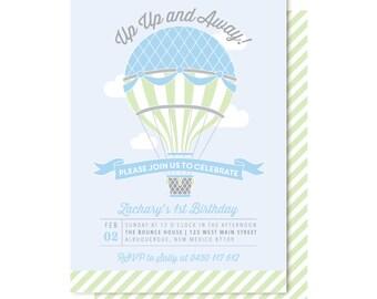 Hot Air Balloon Birthday Invitations, Boy Balloon Invitation
