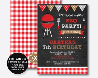 Instant Download, Editable BBQ Birthday Invitation, Barbeque Invitation, bbq invitation, bbq Party Invitation, Picnic, Chalkboard (CKB.75)