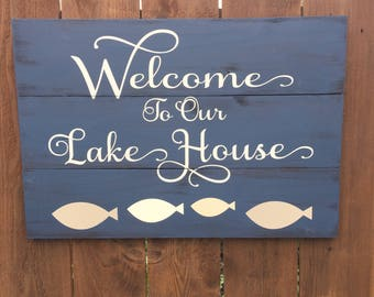 Lake sign, lake welcome sign, lake sign, rustic lake sign, lake house sign, lake house decor, lake house gift, welcome sign, lake wall art