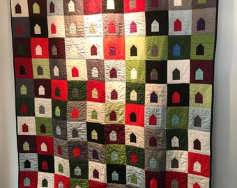 Hand quilted modern quilt