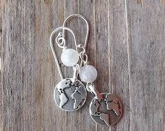 Earth earrings with moonstone beads / Silver Moonstone Earth Earrings / Globe earrings