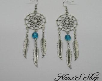 Dreamcatcher earrings blue turquoise,