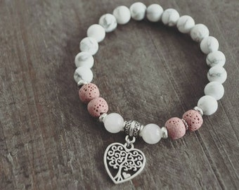 Bracelet coeur - Blanc - Rose - Bijou diffuseur - Bijou bohémien - Coco Matcha