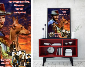 Cirneco dell'Etna Art Vintage Movie Style Poster Canvas Print - The Good, the Bad and the Ugly