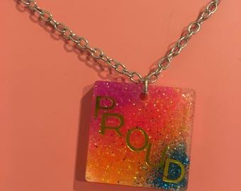 LGBTQ pride word necklace handmade resin pendant statement jewelry