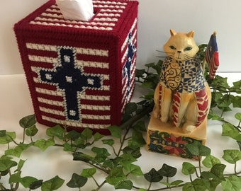 Tissue Box Cover,Patriotic Tissue Cover,Patriotic Tissue Holder,Patriotic Cross,Patriotic Home Decor,Patriotic Housewarming Gifts,Handmade