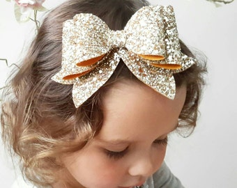 Gold Hair Bow- READY TO SHIP- Gold Glitter Hair Bow, Large hair bow, Oversize hair bow, Barrette Hair Clip, Sparkly Hair Clip, Magentaginger