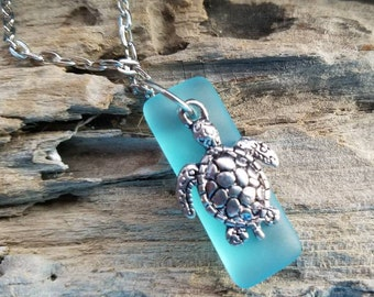 Cute Sea Glass with silver Turtle
