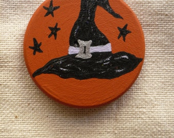 Witch Hat & Protective Bat - Halloween Miniature Art - Pocket Charm - OOAK