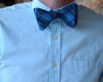 Blue Plaid Adjustable Bow Tie