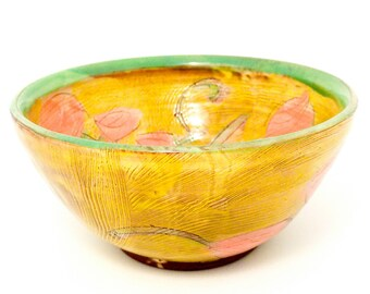 "Floral earthenware 7"" cereal bowl. Wheel thrown, food safe, made by Kaitlyn Brennan/ Brennan pottery"
