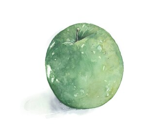 Green Apple, Green Apple Print, Fruit Print, Watercolour Print, Kitchen Art