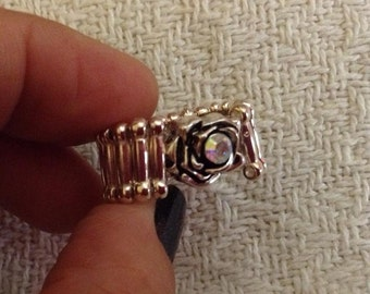 Flower and Crystal Pinky Ring
