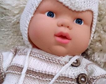 baby helmet hat, Knit baby bonnet, baby boy, Baby pom pom hat, newborn boy, boys pompom hat