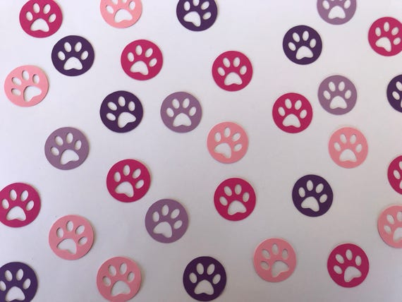 Pink and Purple Paw Print Confetti - Paw Print Decorations - Dog Birthday Party - Girl Puppy Birthday Party - Girl Birthday Party Decor from ... & Pink and Purple Paw Print Confetti - Paw Print Decorations - Dog ...