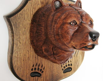 Bear - the medallion trophy hunter. Handmade, wood carving.