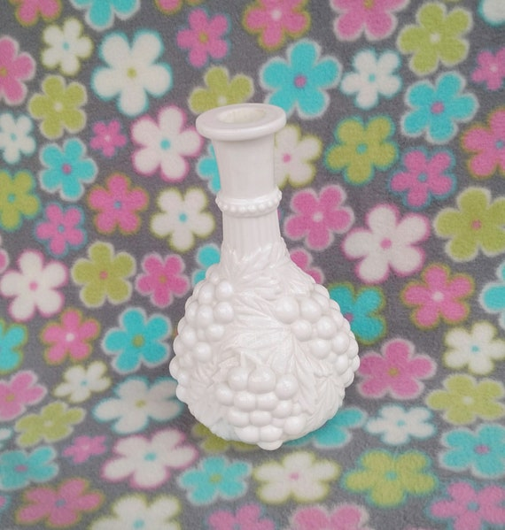 Vintage Milk Glass Bottle Decanter with Grape Vine Design