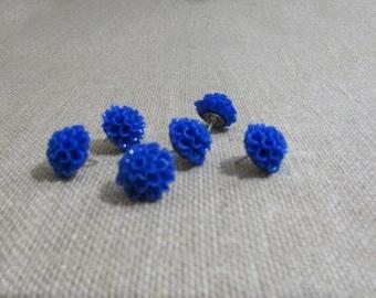 Set of 6 Blue Dahlia Flower push pins, thumb tacks