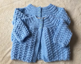 Handknit Baby cardigan, blue baby jacket, hand knit baby jacket, handknitted baby cardigan, baby shower gift, boy babg shower gift, new baby