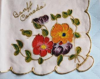 Beautiful HAND PAINTED 1930s Hanky Handkerchief Souvenir Banff Canada Hankie