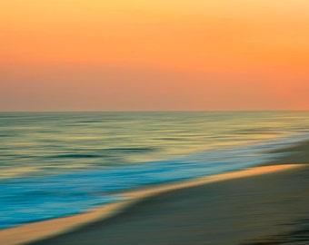 Abstract Beach Photography, Fine Art Print, Coastal Decor, Orange Sunset, Turquoise Ocean, Nautical Decor, Seaside Evening, Abstract Art
