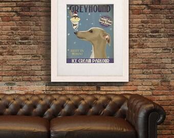 Best in town - Greyhound tan Ice Cream Dog - Cafe art print Bar sign Reception sign Bar decor Cafe wall art print Coffee wall art Cafe sign