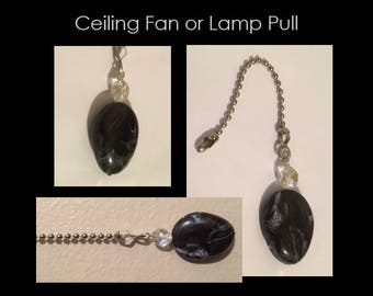 Black Stone Ceiling Fan or Lamp Pull