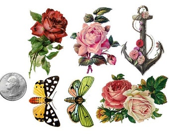 Temporary Tattoo - Set of 6 Vintage Floral OR Set of 10 Floral, Swallows & Feathers - Various Patterns / Tattoo Flash