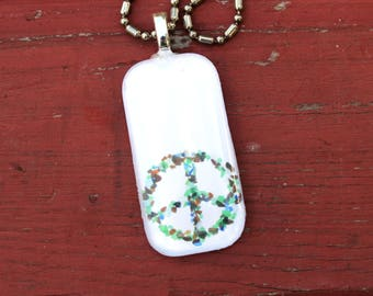 Sea Glass Peace Photo Pendant, Necklace, Beach, Ocean