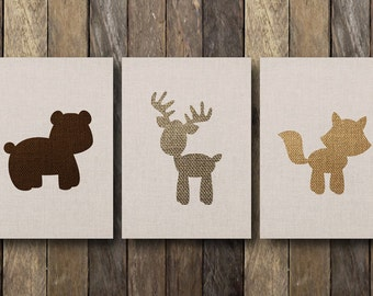 Woodland Nursery Art - Instant Download - Printable 5x7 Set - Woodland Nursery Prints - Printable Nursery Art