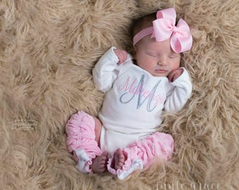 Baby Girl Coming Home Outfit Baby Girl Clothes Newborn Girl Outfit Baby Girl Gift Monogrammed Baby Girl Outfit Baby Girl Leg Warmers